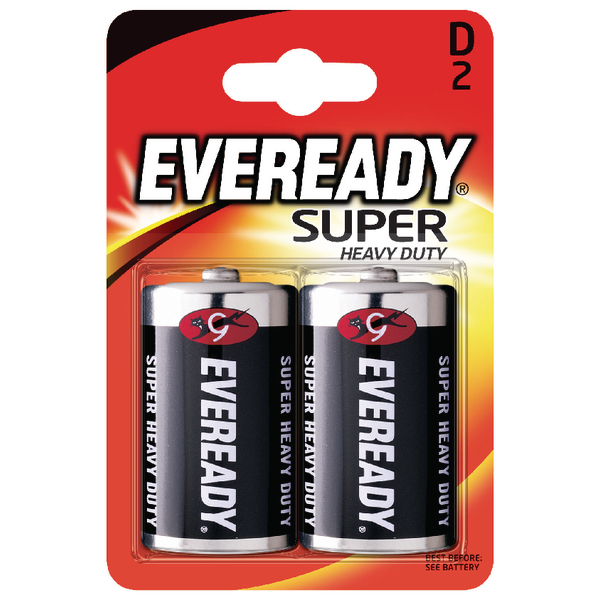 Eveready Super Heavy Duty – D Batteries 1.5v D R20 (2 Pack)