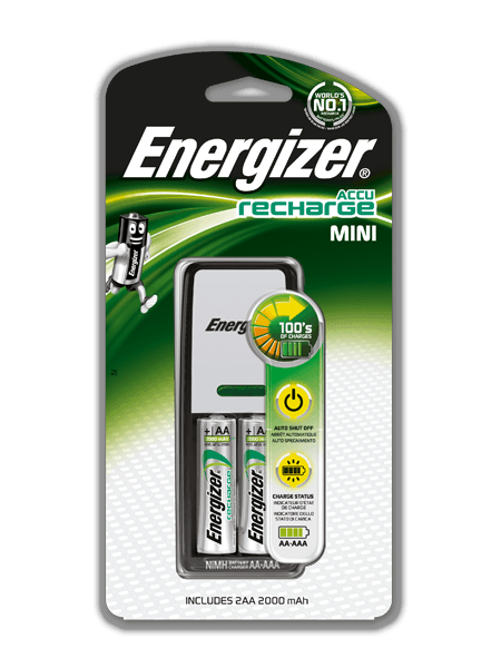Energizer Mini AA/AAA Charger with 2-AA NiMH Rechargeable Batteries