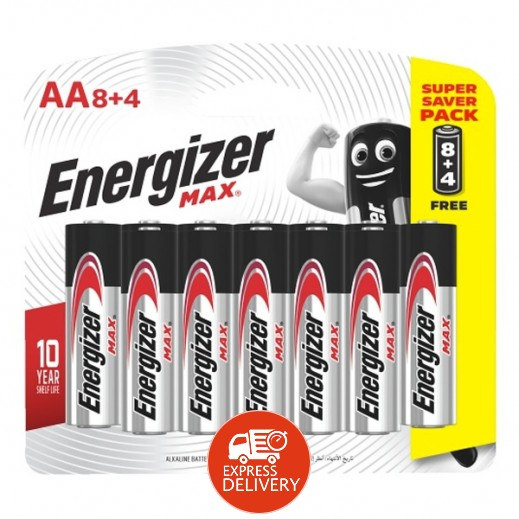 Energizer MAX - E91BP8+4 AA Batteries 1.5v AA LR6 (8 Pack - 4 Free)