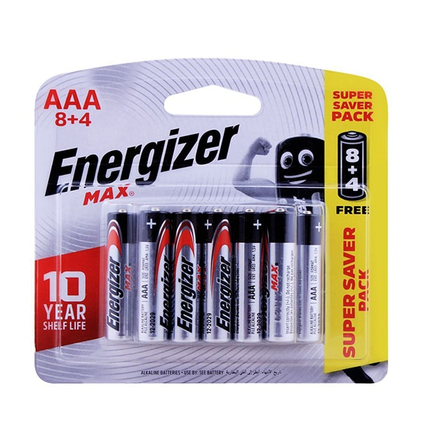 Energizer MAX - E92BP8+4 AA Batteries 1.5v AA LR6 (8 Pack - 4 Free)