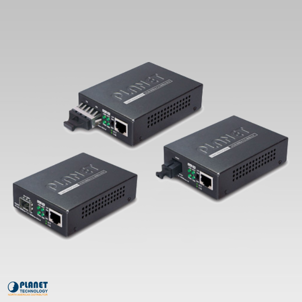 Planet (GT-802S) 10/100/1000Base-T to 1000LX Gigabit Media Converter (SM, SC, 10km)