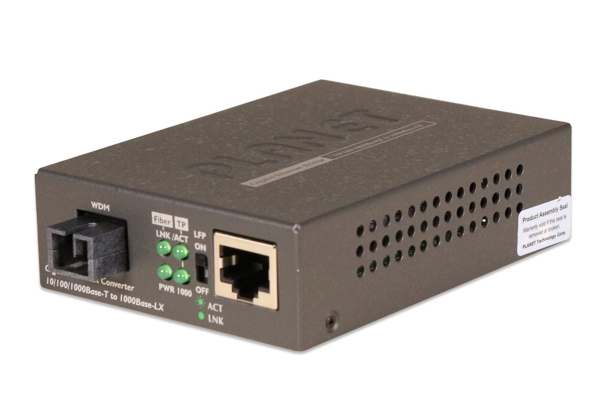 Planet (GT-806B60) 10/100/1000Base-TX to 1000Base-FX WDM Bi-directional Media Converter (SM, WDM, 1550nm, 60km)