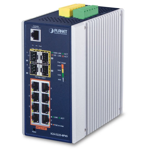 Planet (IGS-5225-8P4S) L2+ Industrial 8-Port 10/100/1000T 802.3at PoE + 4-Port 100/1000X SFP Managed Ethernet Switch