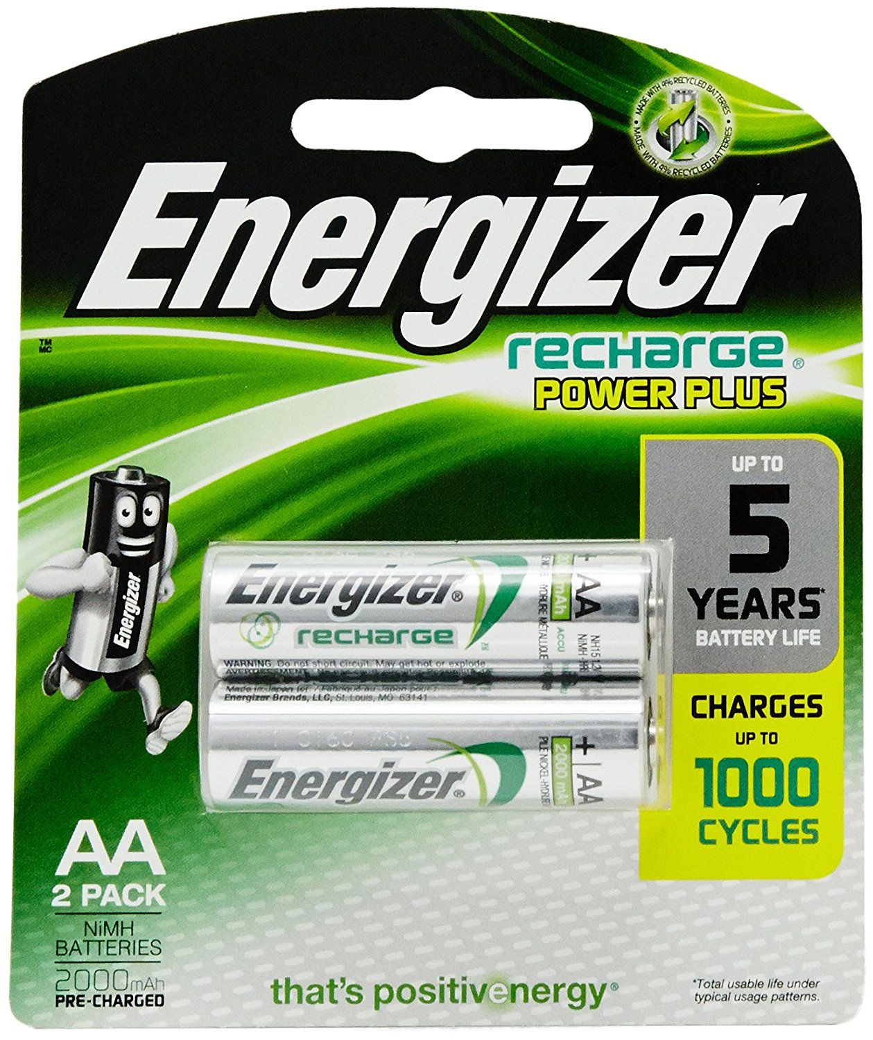 Energizer Recharge Power Plus - AA Rechargeable Batteries 1.2V AA HR6 ( 2 Pack )