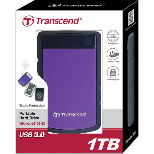 Transcend 1TB StoreJet 25H3 Anti-Shock External Hard Drive
