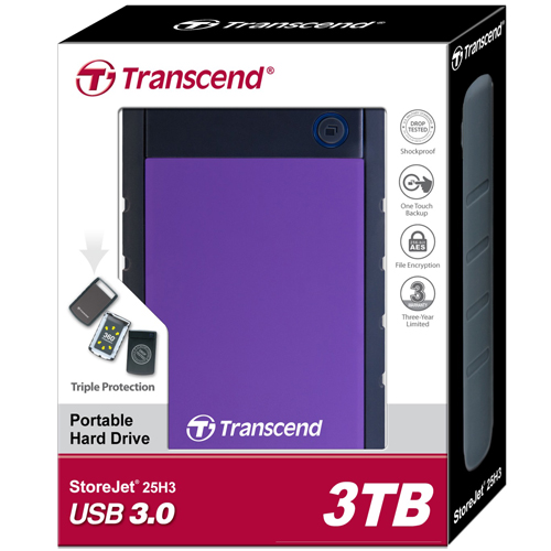 Transcend 3TB StoreJet 25H3 Anti-Shock External Hard Drive