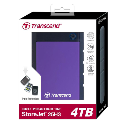 Transcend 4TB StoreJet 25H3 Anti-Shock External Hard Drive