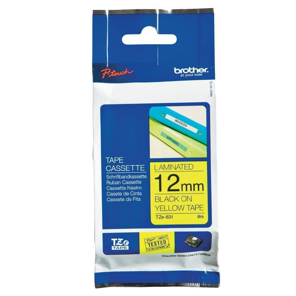 Brother TZe-631 Laminated tape - Black on Yellow (12mm x 8m)