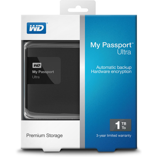 WD 1TB Black My Passport Ultra Portable External Hard Drive - USB 3.0 - WDBGPU0010BBK-NESN